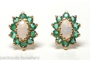 9ct Gold Opal and Emerald Cluster Studs Earrings Gift boxed Made in UK