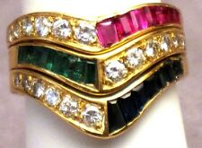 Diamond Ruby Sapphire Emerald 18k YG Ring  GAL Appraisal - Gift Box