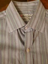$375 Turnbull & Asser Blue Green Stripe Cotton Mens Dress Shirt + Tie 15.5 35
