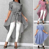Womens Short Sleeve Bowknot High Low Stripe Shirt Asymmetrical Top Tunic Blouse