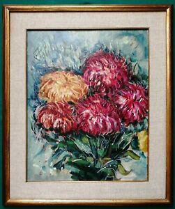 Quadro - Vaso con fiori (dalie rosse e gialle) - Olio su cartone - 40x50 cm