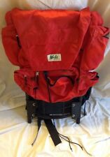 VTG Vintage Red Black REI External Frame Back Pack Medium padded+