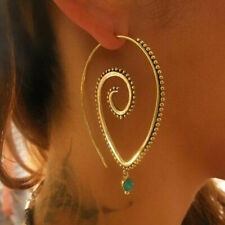 ❤️Earrings 9ct Gold Over Drop Hoops❤️Emerald Spirals 40 mm UK FREE post Silver❤️