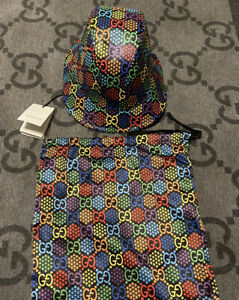 NEW WITH TAGS 100% AUTHENTIC GUCCI RAINBOW PSYCHEDELIC BUCKET HAT CAP SIZE L