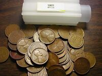 1921-P LINCOLN WHEAT CENT PENNY ROLL, all coins fine grade