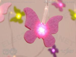 Felt Purple, Pink,Green Butterfly Stringlights - 20 LEDs, Battery-Powered, Timer