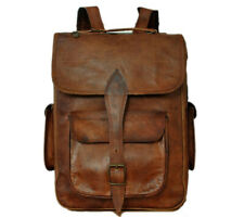 Men Genuine Leather Vintage Laptop Backpack Brown Leather Collage Bagpack-11
