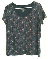 Faded Glory Women's Blouse Sz XL (16-18) Navy Blue Pullover With Red White Stars