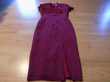 Size 4 Vintage Adrianna Papell 100% Silk Long Dress Fuscia Pink Shoulder Pads