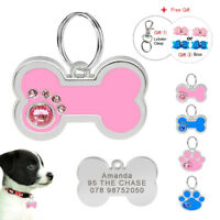 Personalized Bling Bone/Paw Dog Tags Engraved Puppy Pet ID Name Collar Tag Disc