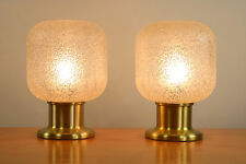VTG Pair of Table or Bedside Lamps by Doria Glass Shades 1960's