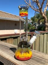 "Hookah Water Pipe Bong Glass 10"" inch RASTA Ice Catcher Tobacco 14mm Stem Bowl"