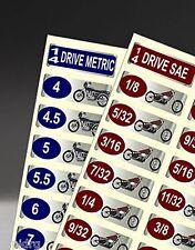 """""""Easy Read"""" Chrome Foil Harley-Davidson Motorcycle Socket Label 86 Piece Set"""