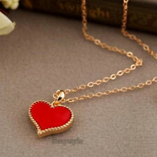 Women NEW Love Heart Pendant Red Charm Necklace Gold Chain Fashion Jewelry N1