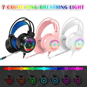 Colorful LED Gaming Headset USB Wired Headphones With Microphone Computer PC