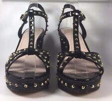 DOLCE VITA NEW Black Studded Patent Leather TAMBLYN Wedge Sandal Size 9.5
