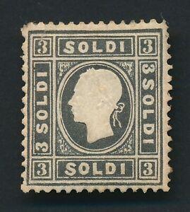 ITALY LOMBARDY & VENETIA STAMP 1858 3s BLACK JOSEF, Sc #8a TYPE I, P.14.5 MOG