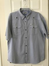 Ablanche New York Men's Short Sleeve Blue Striped Shirt Silver Buttons Size 4XL