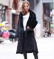 100% Real Knitted Mink Fur Long Coat Outwear Overcoat Custom Women's Clothing