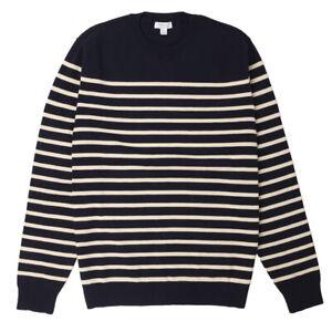 Sunspel Breton Crew Neck Knit Navy / Ecru - NEW!