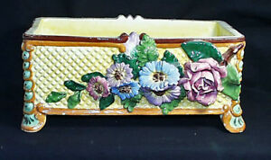 Outstanding Antique Signed Italian Majolica Yellow Floral Footed Planter