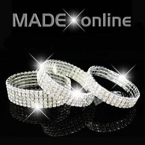 Stretchy Bracelet Silver Plated Diamante / Diamonte  Elasticated Sparkle Bling