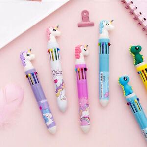 Kawaii Cartoon Multi Colour 10 In 1 Retractable Ballpoint Pen Ball Pens