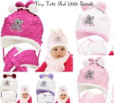 Baby Girls Toddler Warm Winter Dimple Mink Hat & Scarf Xmas Santa Gift 3-24 mths
