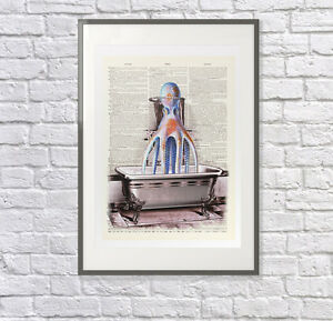 'Octopus in the Shower' Upcycled Print: Vintage Dictionary Art - Bathroom