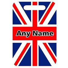 PERSONALISED FLOWERY UNION JACK PRINT MDF LUGGAGE SUITCASE TAG /& FIXING STRAP