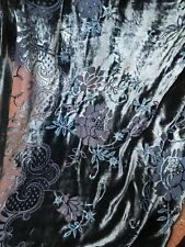 Designer Burnout Silk Rayon Velvet - Teal Metallic Roses- By the yard