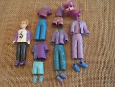 """Polly Pocket Boy Doll Lot """"Colors of the Rainbow"""" Purple Outfits with a Pet!  F6"""