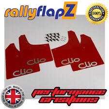 Mudflaps RENAULT CLIO MK2 98-06 Mud Flaps rallyflapZ Red Logo Silver- Kaylan PU