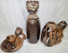 Lot of 3 Signed Mid Century Studio Pottery Lion Figurine Bottle Candleholder