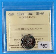 Canada 1943 10 Cents Ten Cent Silver Coin - ICCS MS-64 Gorgeous Toning