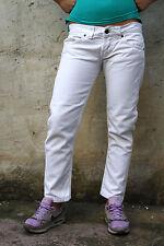 DONDUP MUSIC Donna Bianco Jeans Denim Standart Skinny Slim Fit W32 UK14 ITALIA