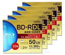 50 Radius Bluray Recordable Discs 50GB BD-R DL Dual Layer Inkjet Printable tdk