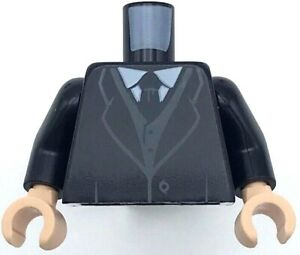 Lego New Black Minifig Torso Suit Coat Tie White Shirt Dark Bluish Gray Vest