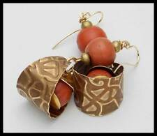 SHERPA CORAL - Old Sherpa Coral - Handforged Embossed Bronze Statement Earrings