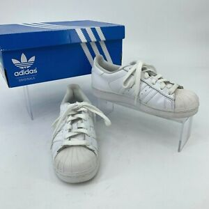 Adidas Superstar Sneakers Big Kid Youth Size 3.5 All White Low Top Fashion Shoes