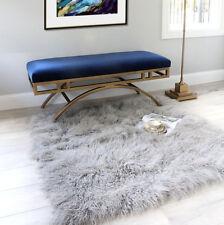Grey Fur Rug -  Mongolian sheepskin Rug 120x120cm
