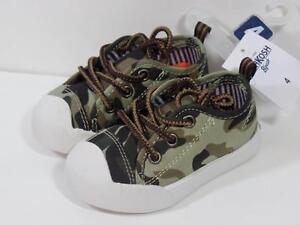New Oshkosh Boy's $30 Westley Brown Khaki CAMO Athletic Sneakers Shoes 4 Toddler
