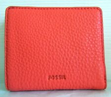 FOSSIL LEATHER EMMA BIFOLD WALLET LAVA CORAL WITH RFID