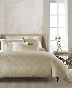 Hotel Collection Jacquard Dimensions Champagne FULL/QUEEN Duvet Cover $270 H1064
