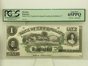 1860's $1 New England At Goodspeed's Landing Obsolete Note 65 PPQ PCGS Graded