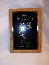 "BASS FISHING 5""x7"" OAK PLAQUE TROPHY AWARD - FREE ENGRAVING!!!!"
