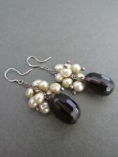 Vintage Silver Smoky Quartz Pearl Drop Dangle Earrings