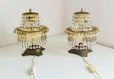 *2* PAIR Antique Bronze Table Boudoir Lamps Bronze Waterfall Crystal Chandelier