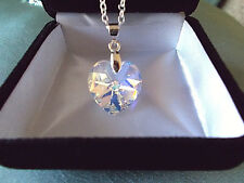 BEAUTIFUL Necklace w Swarovski Crystal Aurora AB HEART Sterling Silver 925 Chain