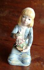 PAL statuina bambina fiori ceramica Porcelana Artistica Levantina Spagna 17,5 cm